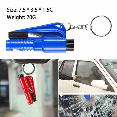 NEW Emergency Safety Tool Car Window Breaker Hammer Whistle KeyChain Belt Cutter