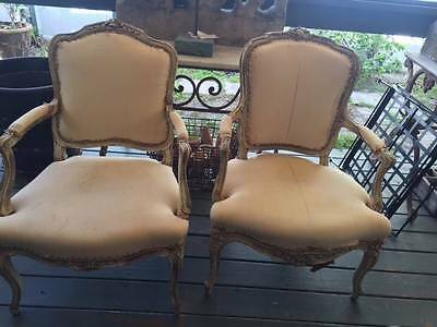 Pair of Antique Hand Painted French Arm Chairs