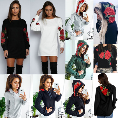 Women Long Sleeve Floral Pullover Long Tops Blouse Casual T Shirt Mini Dress NEW