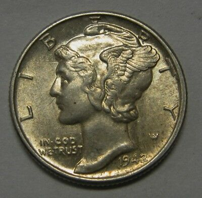 1942 Mercury Head Silver Dime Grading in the AU Range Nice Original Coins