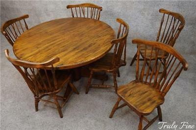 Superior Quality Amish Crafted Round Oak Farm Table & 6 Solid Oak Windsor Chairs