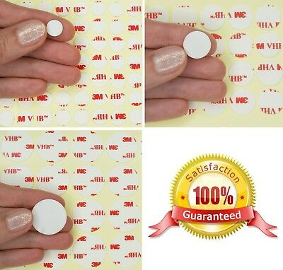 WHITE 3M VHB Acrylic Foam Dots CIRCLES ~ Double Sided Tape Pads ~ 0.64mm Thick