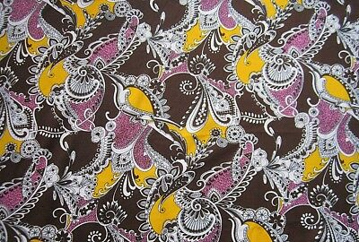 Wild Vintage Print from the 60's on Crimplene Double Knit 61 by 62""