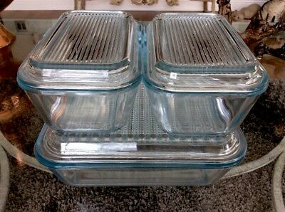 Set of 3 Vintage Marinex Glass Refrigerator Dishes w/Lids Excellent Clean HTF