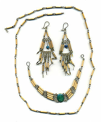 Peru Amazon Set: Necklace, Earrings and Bracelet in bamboo