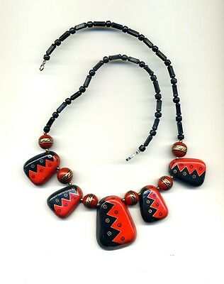 Peru High Andes: Handcrafted Ceramic necklace with abstract red & black designs