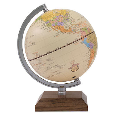 "Advantus Ivory Desk Globe 5 1/8"" Diameter Walnut Base/Silver Arm 30507"