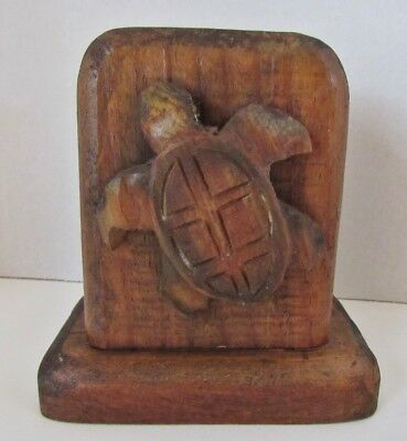 Hand Hune Sold Wood Napkin/Paper Holder With Two Carved Turtles