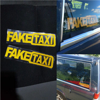 2x Car Sticker FAKE TAXI JDM Drift Turbo Hoon Race Auto Funny Vinyl Decal 20x5cm