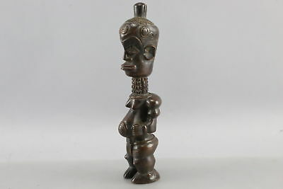 Antique African Dark Wood Hand Carved Tribal Fertility Figurine Nude Woman