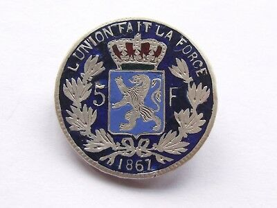Antique Enamelled 1867 Belgium 5 Francs Coin As Brooch ,silver / Crown Sized