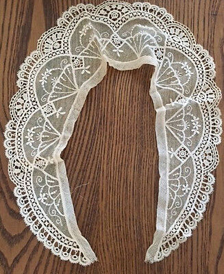 Antique Hand Made 1800's French Lace Collar ~ Flower Basket Design
