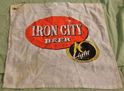 Iron City Beer - Golf Towel - Bar Towel - White....Used