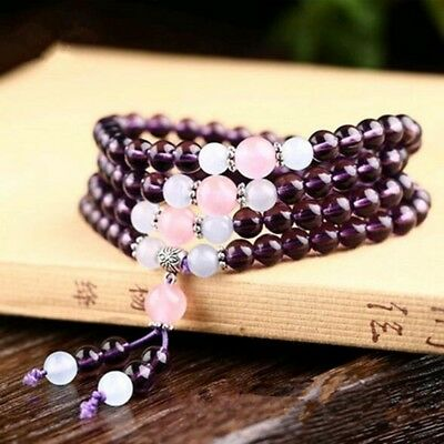 6mm Stone Buddhist Amethyst 108 Prayer Beads Mala Bracelet / Necklace DAJ9072-4