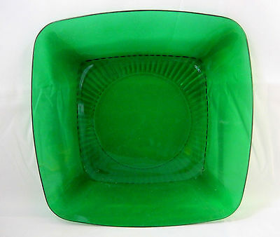 Anchor Hocking Luncheon Plate Forest Green Charm Square Glass Design