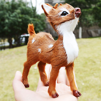 Realistic Mini Deer Home Desk Shelf Decorative Furry Figurine Toy Replica Fawn