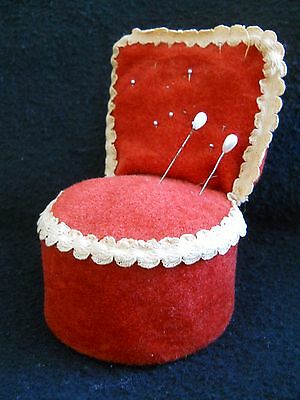 Vintage red velvet and rickrack chair pincushion / sewing