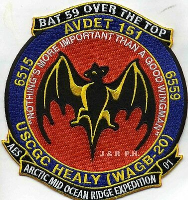 "USCG Coast Guard Patch - AVDET-151  ""BAT 59 Over the Top"" (5"" x 5.5"") (fire)"