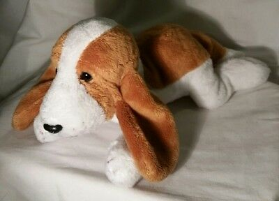 F A O Schwarz Plush Brown & White Puppy Dog, Floppy Ears, Lying Down Position