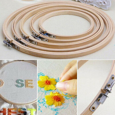 Wooden Cross Stitch Embroidery Round Hoops Ring Bamboo Frame Sewing Craft Tools