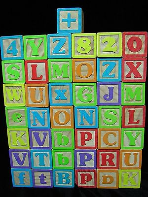 """Wooden Blocks Larger Alphabet Play Classic Toys 1.75"""" Vintage Lot of 43"""