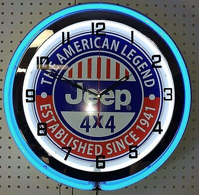 "19"" Double Neon Clock Jeep 4x4 The American Legend Since 1941"