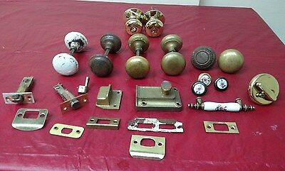 8 + Lot Antique East Lake Hardware Brass Porcelain Door Knob Dead Bolt Segal ✞