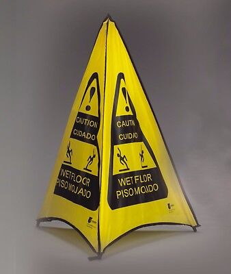 """EVOSAFETY CAUTION CUIDADO & WET FLOOR 32"""" Pop-Up Safety Cone NEW! SHIPS FAST"""