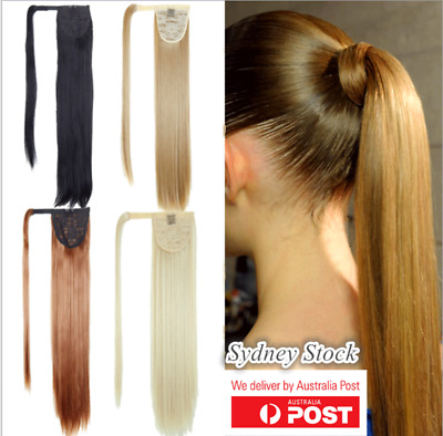 "One Piece Wrap Around Pony Tail Clip-in Hair Extensions 24"" 61cm Long Fake Hair"