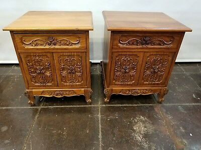 Pair Louis XVII French Rococo Style Nightstands from Portugal, c.1940s - Roses