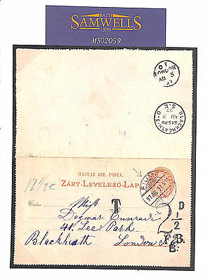 MS2059 1897 HUNGARY Lettercard Used *FIUME* Underpaid London Blackheath Charged