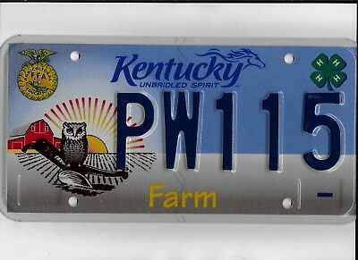 "KENTUCKY license plate ""PW115"" ***MINT***AGRICULTURE**4H**FARM***"