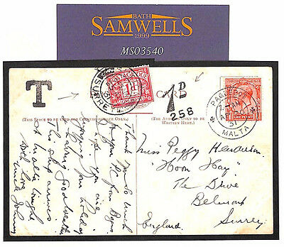 MS3540 1931 GB Used in MALTA GB Surrey Underpaid