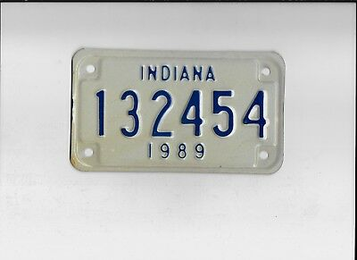 """INDIANA 1989 license plate """"132454"""" ***MINT***MOTORCYCLE***"""