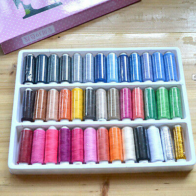 1 Box 39 Pcs Spools Colorful Polyester Embroidery Sewing Quilting Thread UK