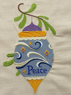 'Peace' Christmas Bauble ~ Embroidered Quilt Block/Panel