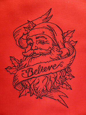 Traditional Father Christmas 'Believe'' ~ Embroidered Quilt Block/Panel