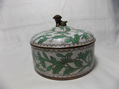 Chinese Antique Cloisonne Round Container with Lid Foo-Dog Finial