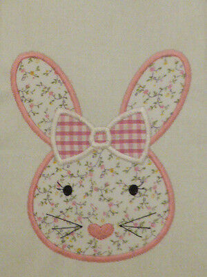 Girl Bunny Face ~ Embroidered Applique Quilt Block/Panel