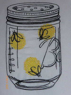 Quirky Mason Jar with Fire Flies ~ Embroidered Quilt Block/Panel
