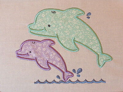 Playful Dolphins ~ Embroidered Applique Quilt Block/Panel