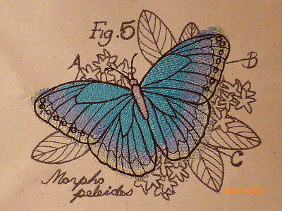 Beautiful Butterly ~ Embroidered Quilt Block/Panel