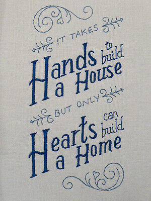 'It takes hands to build a house' ~ Embroidered  Quilt Block/Panel