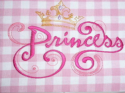 'Princess' ~ Embroidered Quilt Block/Panel on Laura Ashley Fabric