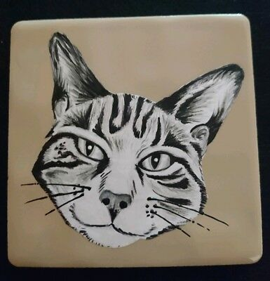hand painted tabby cat tile / coaster 10cm x 10cm -ORDERS WELCOME OF YOUR PET