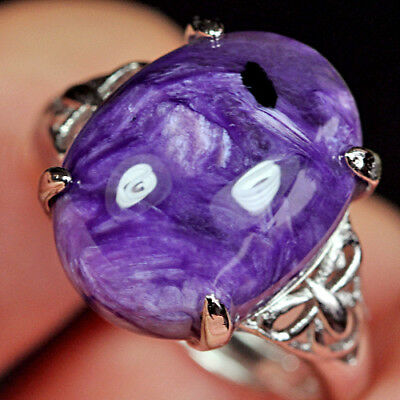 18CT 100%Natural 18K Gold Plated Purple Charoite Ring UDCH18