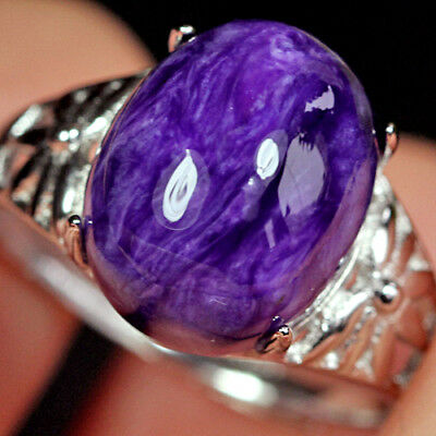 16CT 100%Natural 18K Gold Plated Purple Charoite Ring UDCH21