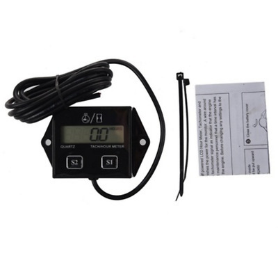 Spark Plugs Engine Digital Tach Hour Meter Tachometer Gauge Motorcycle ATV Black