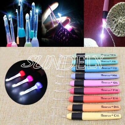 9 Various Sizes LED Light Up Crochet Lite Knitting Hook Needles Craft Set Kit AU