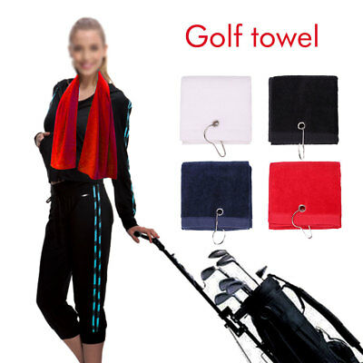Tri-Fold Cotton Golf Towel With Carabiner Outdoor Sport Bag Cleaning Cloth